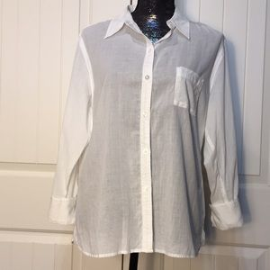 Chico's Sheer white button up blouse Size 2